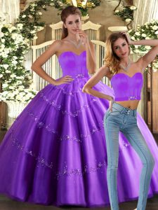 Cheap Eggplant Purple Lace Up Sweetheart Beading Sweet 16 Dress Tulle Sleeveless