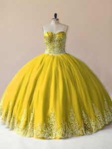Custom Design Tulle Sleeveless Floor Length Sweet 16 Dress and Embroidery