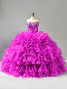 Floor Length Ball Gowns Sleeveless Purple Quinceanera Dresses Lace Up