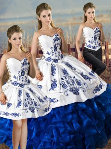 Exquisite Floor Length Lace Up Quince Ball Gowns Blue And White for Sweet 16 and Quinceanera with Embroidery and Ruffles