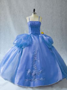 Blue Sleeveless Appliques Floor Length Sweet 16 Dresses