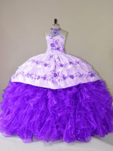 Purple Sweet 16 Quinceanera Dress Sweet 16 and Quinceanera with Embroidery and Ruffles Halter Top Sleeveless Court Train Lace Up