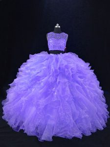 Sleeveless Floor Length Beading and Ruffles Zipper Quinceanera Gown with Lavender