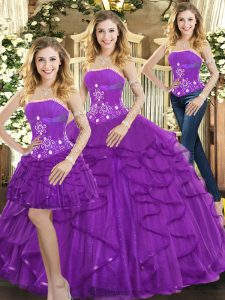 Purple Three Pieces Tulle Strapless Sleeveless Beading and Ruffles Floor Length Lace Up Vestidos de Quinceanera