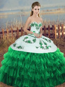 Sophisticated Floor Length Ball Gowns Sleeveless Green 15th Birthday Dress Lace Up