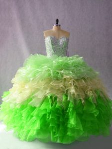 Multi-color Ball Gowns Beading and Ruffles Ball Gown Prom Dress Lace Up Organza Sleeveless Floor Length