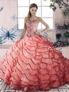 Luxurious Watermelon Red Sleeveless Organza Brush Train Lace Up Quinceanera Dress for Sweet 16 and Quinceanera
