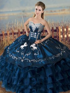 Sweetheart Sleeveless Satin and Organza Sweet 16 Quinceanera Dress Embroidery and Ruffles Lace Up