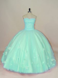 Fancy Sleeveless Lace Up Floor Length Hand Made Flower Quinceanera Gowns