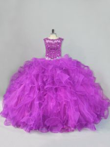 Free and Easy Scoop Sleeveless Tulle Quinceanera Gown Beading and Ruffles Lace Up