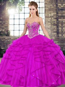 Fuchsia Lace Up Sweetheart Beading and Ruffles Quinceanera Gown Tulle Sleeveless