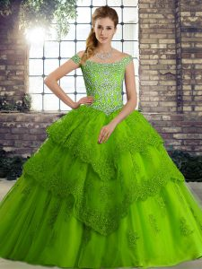 Off The Shoulder Sleeveless Brush Train Lace Up Ball Gown Prom Dress Green Tulle