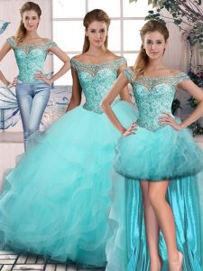 Aqua Blue Sleeveless Beading and Ruffles Lace Up Quince Ball Gowns