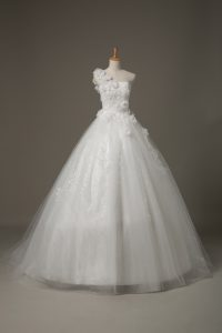 Exquisite White Tulle Lace Up Bridal Gown Sleeveless Brush Train Beading and Lace and Hand Made Flower
