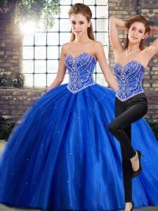 Sleeveless Brush Train Beading Lace Up 15 Quinceanera Dress