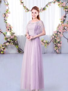 Floor Length Empire Short Sleeves Lavender Quinceanera Dama Dress Side Zipper