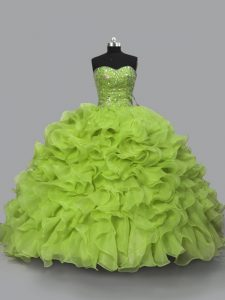 Stylish Sleeveless Beading and Ruffles Lace Up 15 Quinceanera Dress