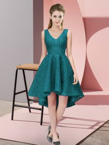 Best Selling A-line Bridesmaids Dress Teal V-neck Lace Sleeveless High Low Zipper