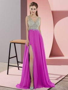 Exquisite Fuchsia V-neck Neckline Beading Homecoming Dresses Sleeveless Zipper