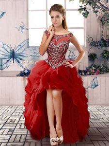 Pretty Red A-line Beading and Ruffles Prom Party Dress Zipper Organza Sleeveless High Low