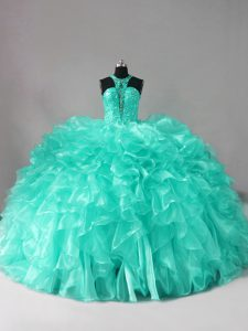 Cute Aqua Blue Ball Gowns Organza Halter Top Sleeveless Beading and Ruffles Zipper Quinceanera Gowns Brush Train
