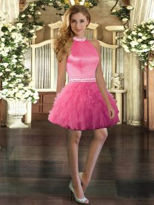 Halter Top Sleeveless Tulle Prom Evening Gown Beading and Ruffles Backless
