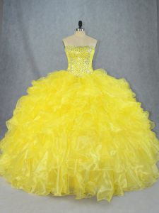 Yellow Ball Gowns Beading and Ruffles Quinceanera Dress Lace Up Organza Sleeveless Asymmetrical