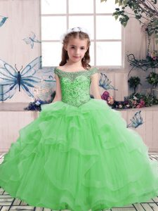 Sleeveless Beading Lace Up Custom Made Pageant Dress