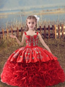 Trendy Red Sleeveless Sweep Train Embroidery Pageant Dress