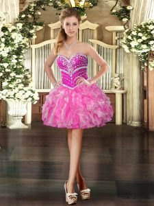 Fantastic Hot Pink Sleeveless Organza Lace Up Evening Dress for Prom and Party