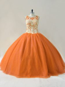 Chic Orange Lace Up Scoop Beading and Appliques Quinceanera Gowns Tulle Sleeveless