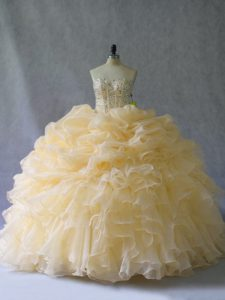 Simple Gold Strapless Neckline Beading and Ruffles and Pick Ups Vestidos de Quinceanera Sleeveless Lace Up