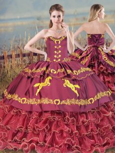 Eye-catching Burgundy Lace Up Quince Ball Gowns Embroidery and Ruffled Layers Sleeveless Brush Train