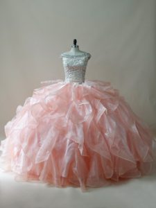Sleeveless Organza Floor Length Zipper Sweet 16 Dress in Peach with Beading and Ruffles
