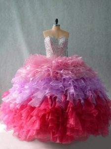 Sumptuous Multi-color Organza Lace Up 15 Quinceanera Dress Sleeveless Floor Length Beading and Ruffles