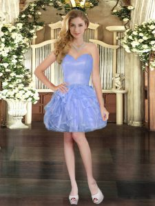 Organza Sleeveless Mini Length Prom Dresses and Ruffles