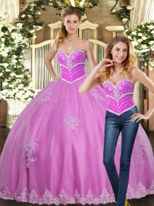Dramatic Sweetheart Sleeveless Lace Up Sweet 16 Dresses Lilac Tulle