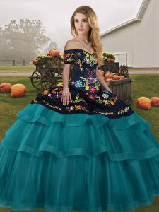 Teal Off The Shoulder Neckline Embroidery and Ruffled Layers Sweet 16 Dresses Sleeveless Lace Up