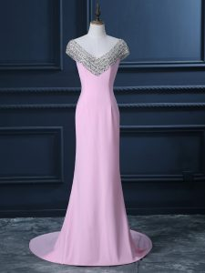 Pink Evening Gowns Prom and Party and Military Ball with Beading V-neck Cap Sleeves Court Train Side Zipper