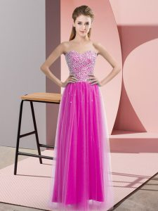 High End Floor Length Fuchsia Evening Dresses Tulle Sleeveless Beading