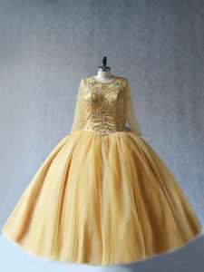 Gold Sweet 16 Dress Sweet 16 and Quinceanera with Beading Scoop Sleeveless Lace Up