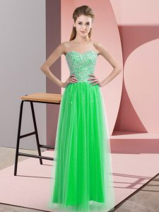 Smart Tulle Sleeveless Floor Length and Beading