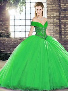 Fashionable Sleeveless Beading Lace Up Ball Gown Prom Dress with Green Brush Train