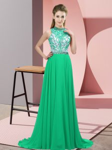 Clearance Turquoise Sleeveless Brush Train Beading Prom Dresses