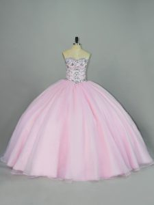 Ball Gowns Sweet 16 Dress Baby Pink Sweetheart Tulle Sleeveless Lace Up