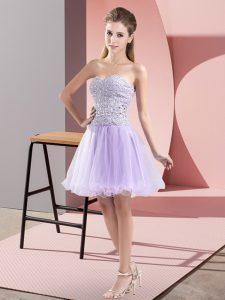 Stunning Lavender Zipper Celebrity Style Dress Beading Sleeveless Mini Length