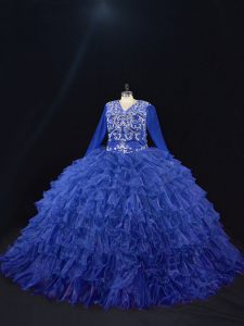 Floor Length Ball Gowns Long Sleeves Royal Blue 15 Quinceanera Dress Lace Up