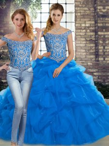 Blue Two Pieces Off The Shoulder Sleeveless Tulle Brush Train Lace Up Beading and Pick Ups Ball Gown Prom Dress
