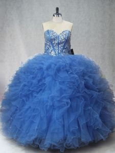 High Quality Sweetheart Sleeveless Lace Up Vestidos de Quinceanera Blue Tulle