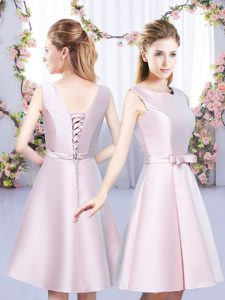 Mini Length Baby Pink Bridesmaids Dress Satin Sleeveless Bowknot